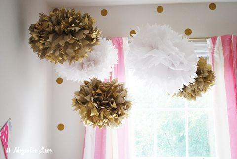 gold white poms in room