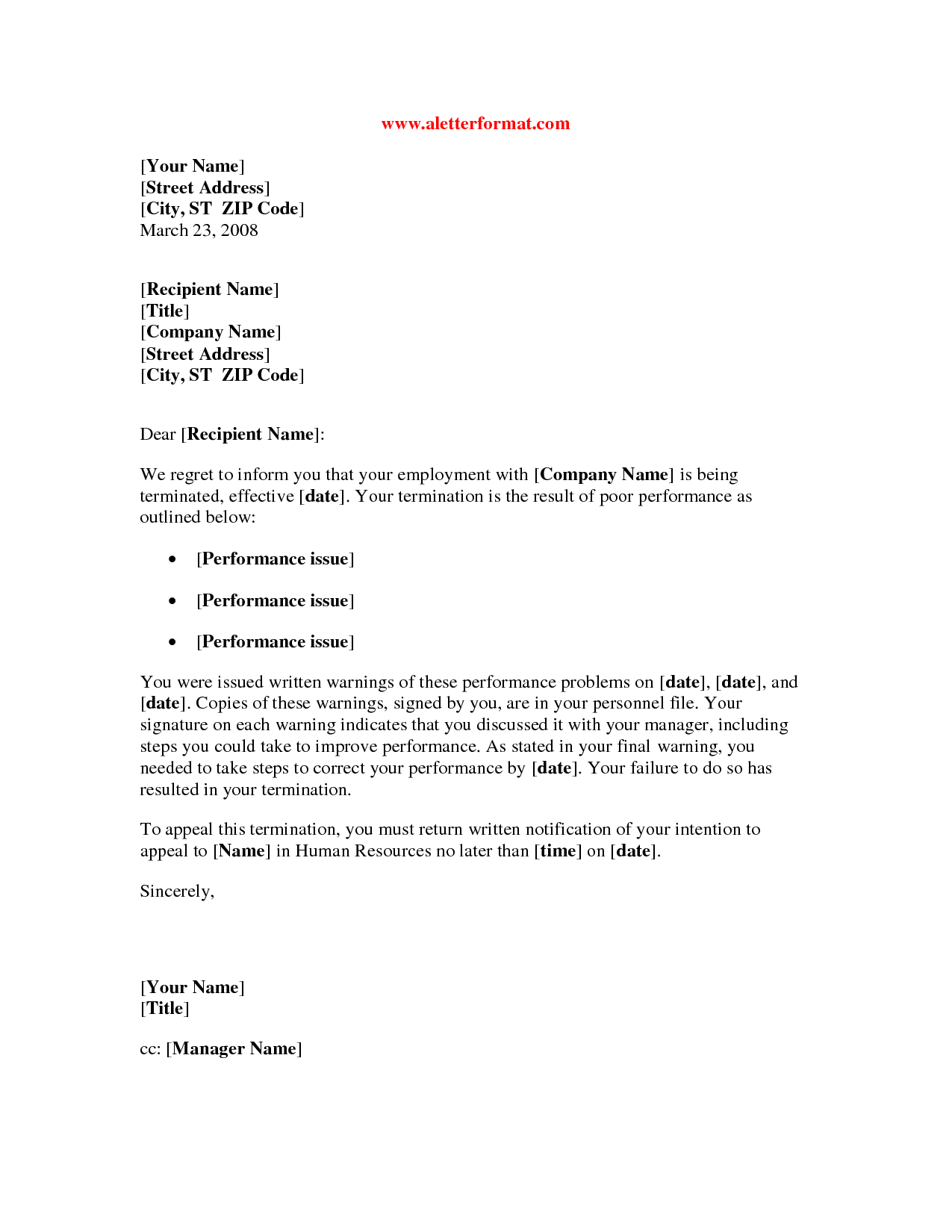 Generic Termination Letter Sample Termination Letter Employee Poor Performance Free Template