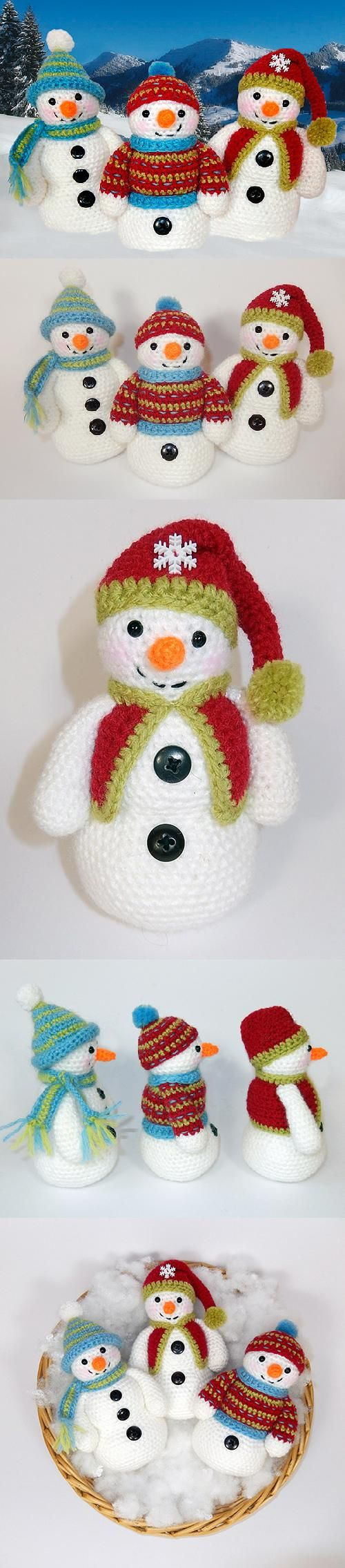 Frosty, Freezy and Fred amigurumi pattern by Janine Holmes at Moji ...