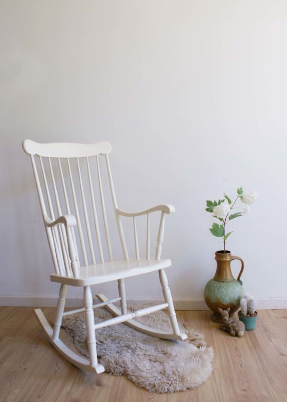 Houten Stoel Vintage.Witte Retro Schommelstoel Houten Vintage Rocking Chair