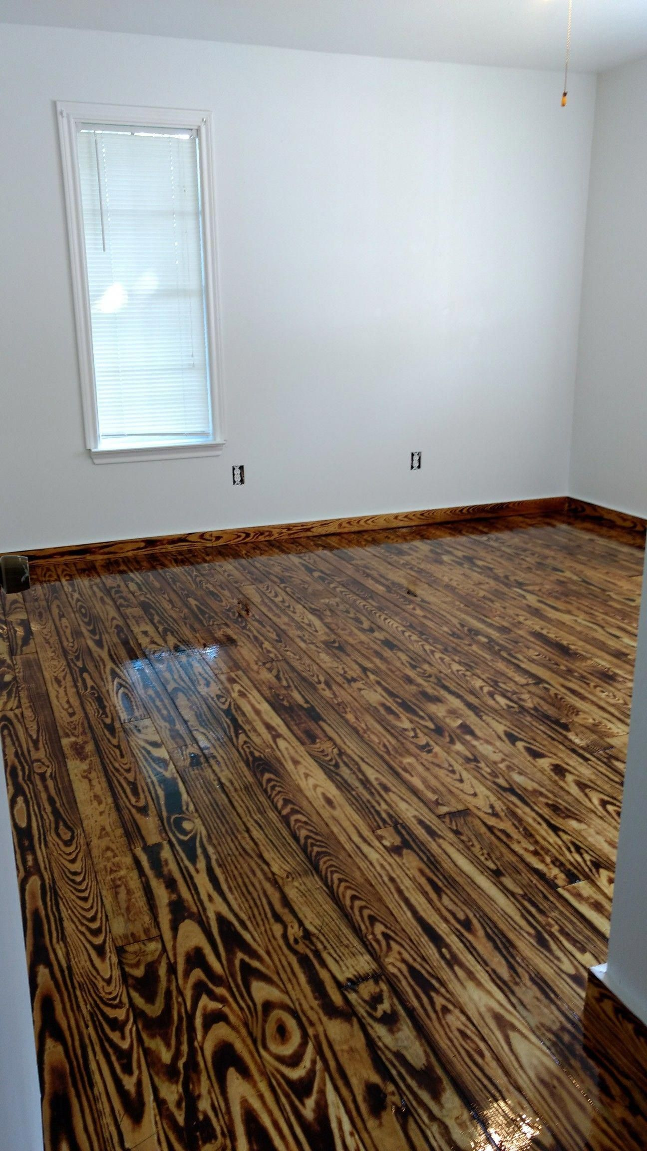 Dyi 1x4 Flooring Yellow Pine 1x4 Burnt With A Torch And Polyurethane Polyurethanewoodfloors Wood Floor Design Diy Wood Floors Pine Wood Flooring