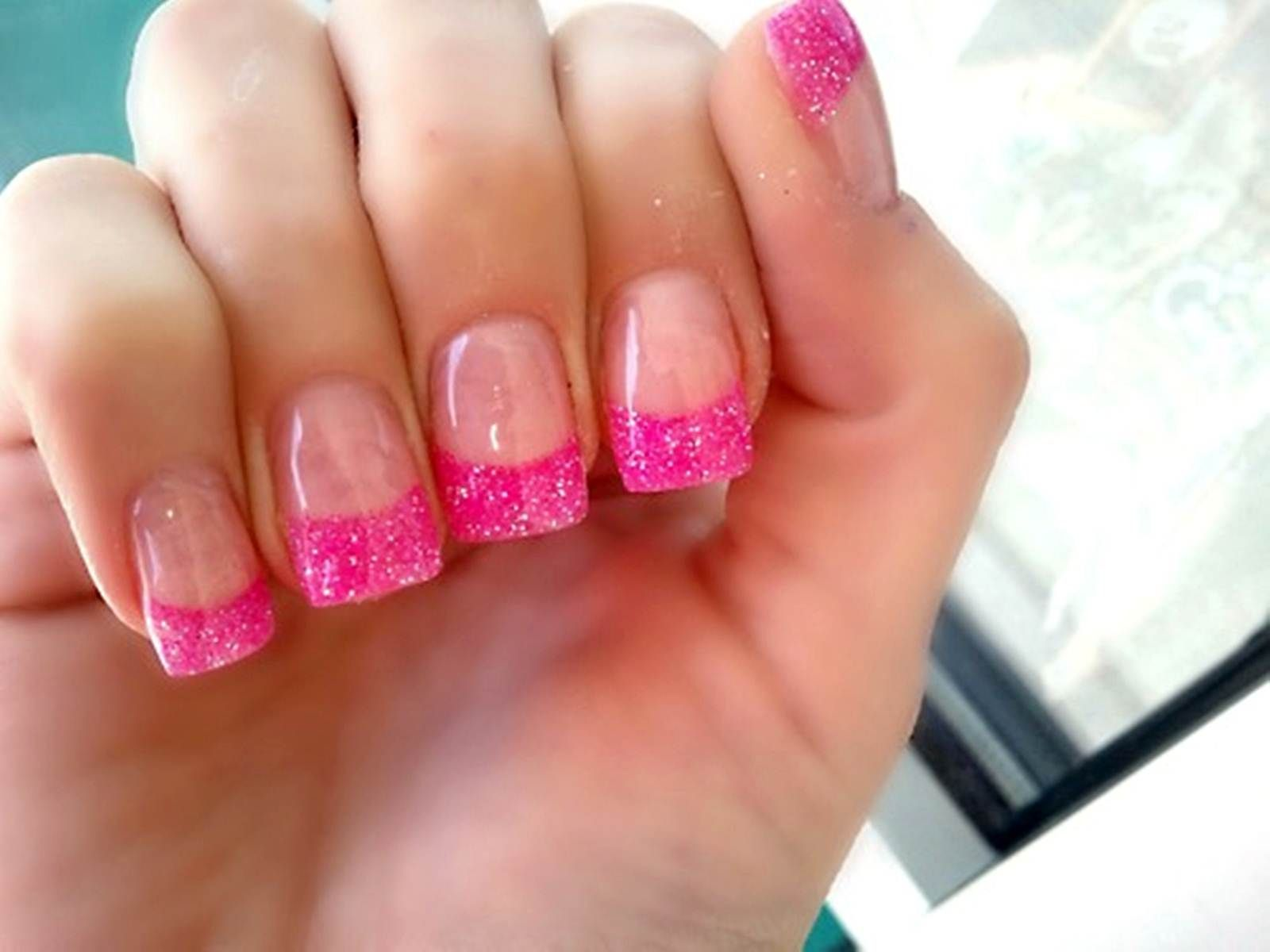 Acrylic Nail Designs Glitter Tips Simple Design Ideas