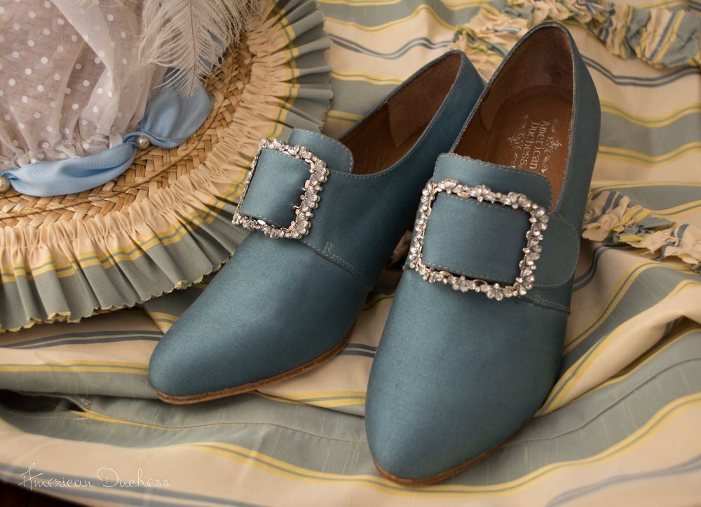 """American Duchess """"Georgiana"""" 18th century shoes - originally white, dyed blue to match a Robe a l'Anglaise. Easy!"""