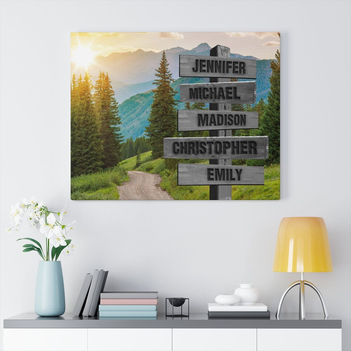 Custom Mountain Road Family Name Canvas Multi Names Crossroad Canvas Family Name Wall Art Personalized Canvas Name Wall Art Personalised Canvas Name Canvas