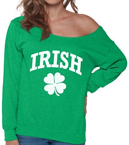 Pekatees Irish Clover Off The Shoulder Sweatshirt Lucky Gifts For Women