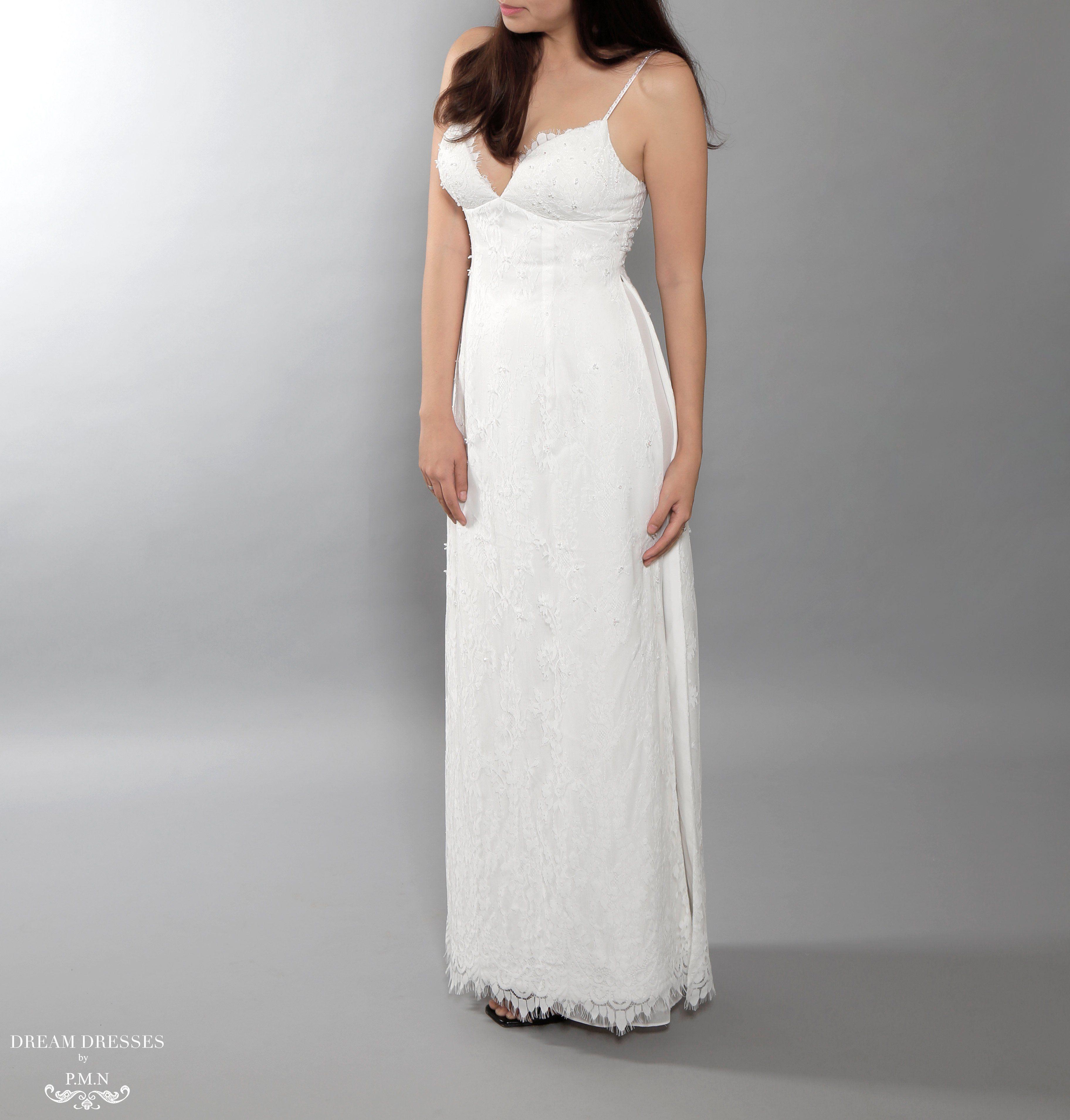 White Ao Dai | Vietnamese Lace Bridal Dress with Modern Neckline ...