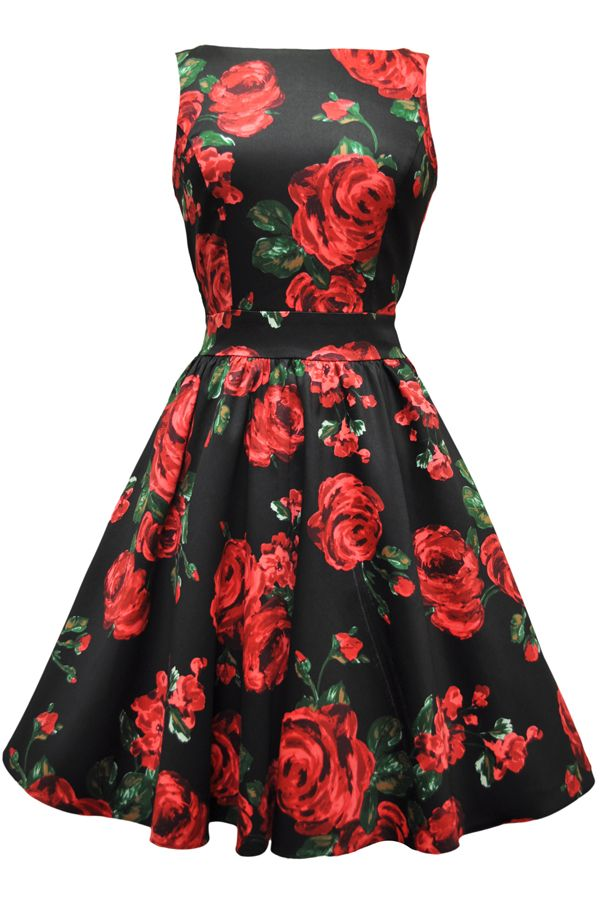Red black and green dresses