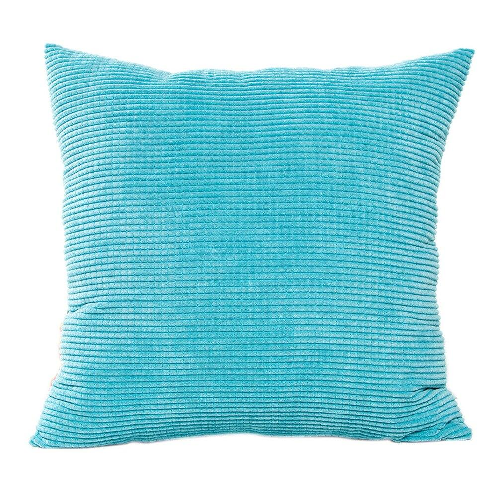 Corduroy Fabric Pillow Case Square Candy Solid Color Waist Throw Cushion Cover