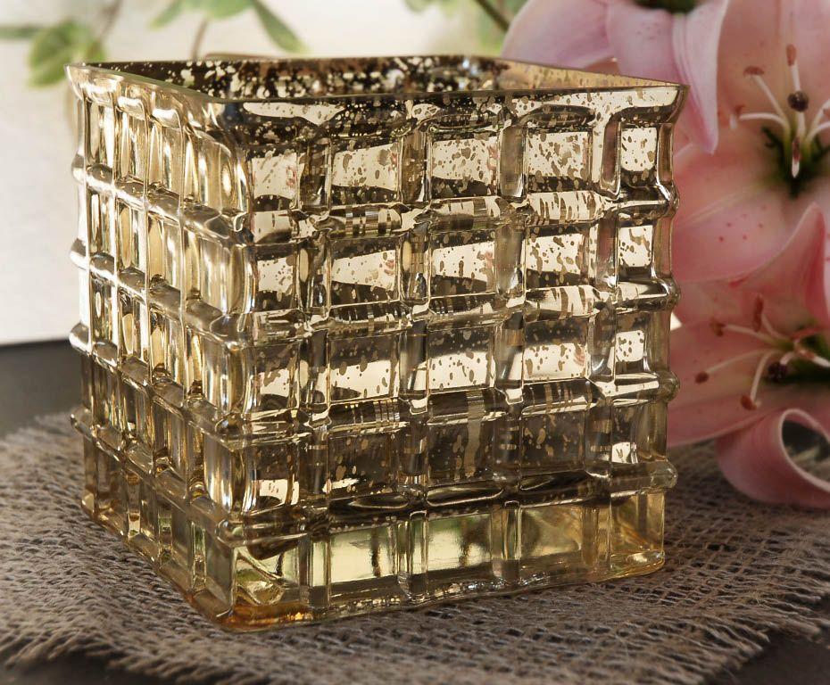 Gold Mercury Glass 4 34 Cube Vase Candle Holder Glass Cube