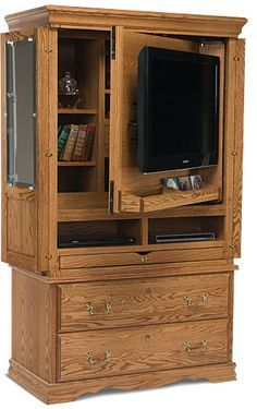 Attractive Flat Screen TV Armoire Gun Cabinet For Bedroom, American Made