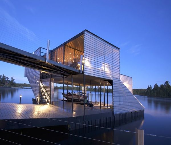 Modern architecture boat house with modern design for Minimalist beach house