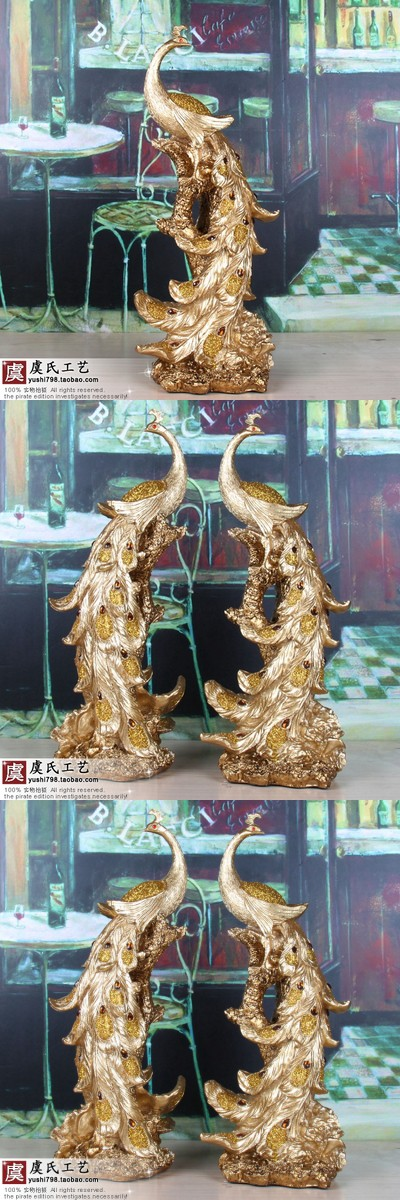 Color Phoenix Home Decorations Resin Crafts Furnishings Peacock Ornaments  Retro European Home Decoration $98.99