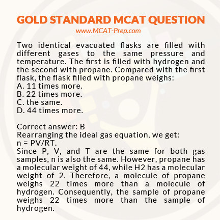 MCAT practice question - general chemistry (gas equation) | MCAT