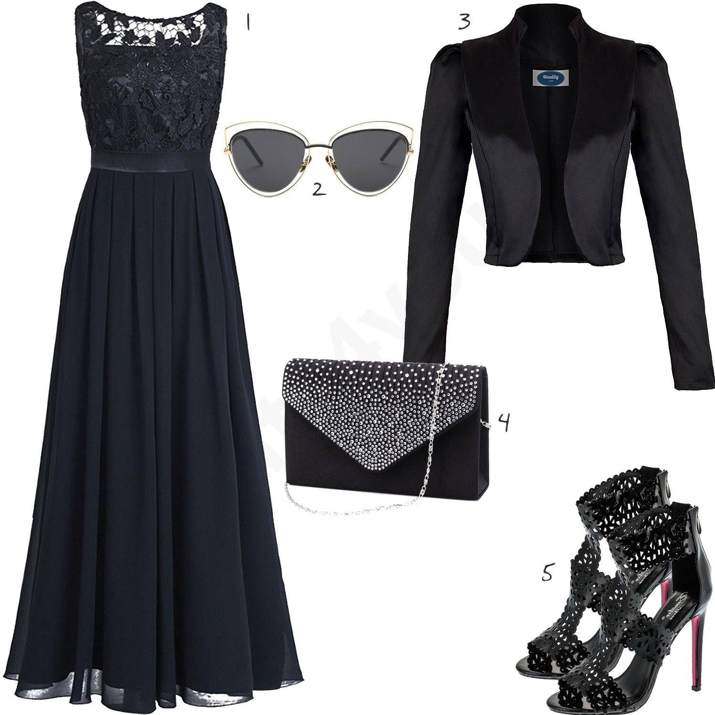 schwarzes damenoutfit mit kleid, jacke und sandalen