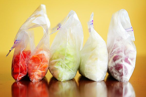 Keep diced vegetables in a freezer to save time on weekdays.
