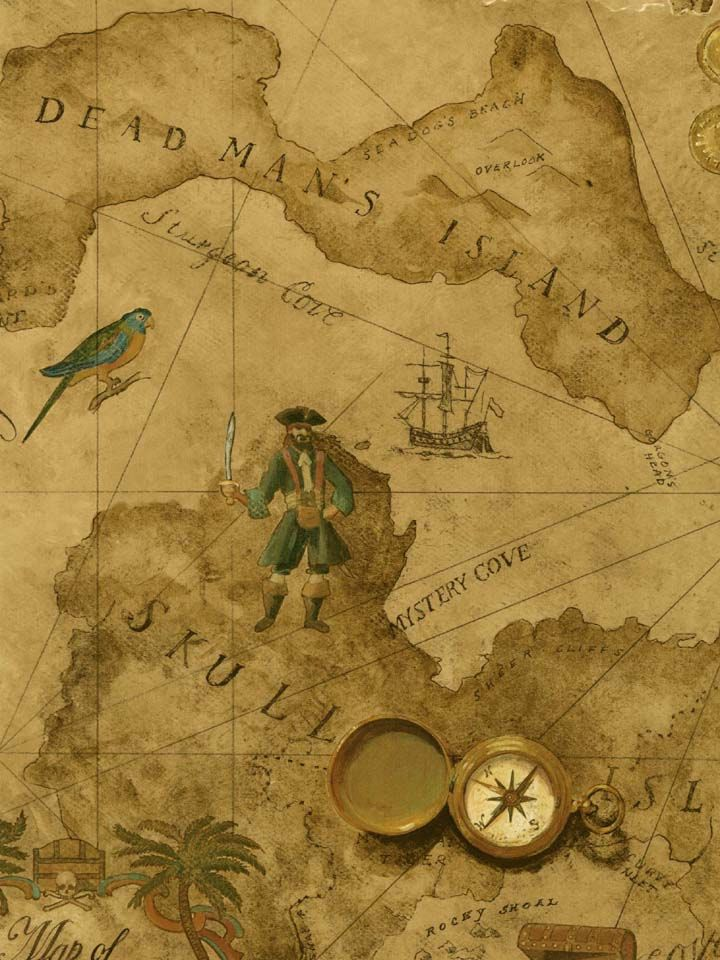 Vintage pirate treasure map wallpaper wall sticker mural decal designs at wall sticker outlet