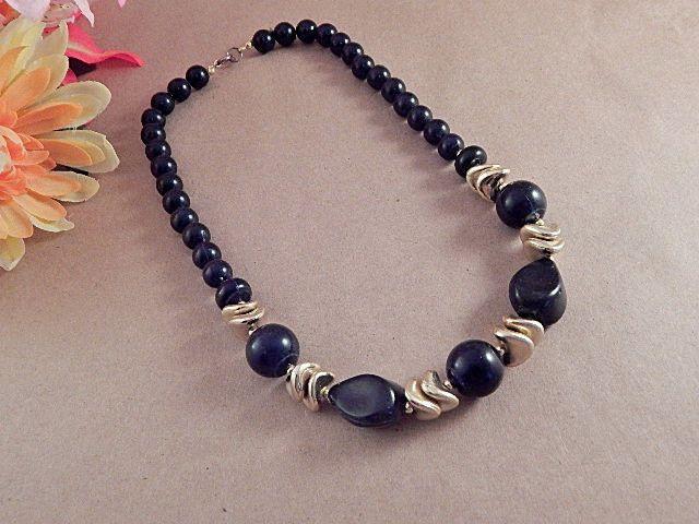 Black Bead Necklace Gold Beaded 18 Inch Strand Elegant Vintage Costume Jewelry…