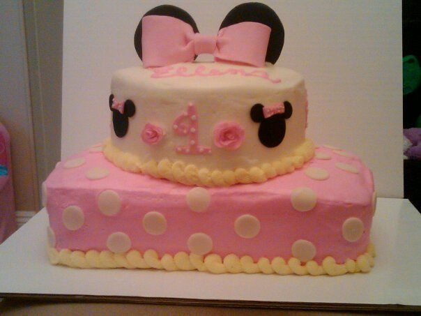 Surprising Baby Minnie Mouse 1St Birthday Cake With Images Baby Girl Birthday Cards Printable Riciscafe Filternl