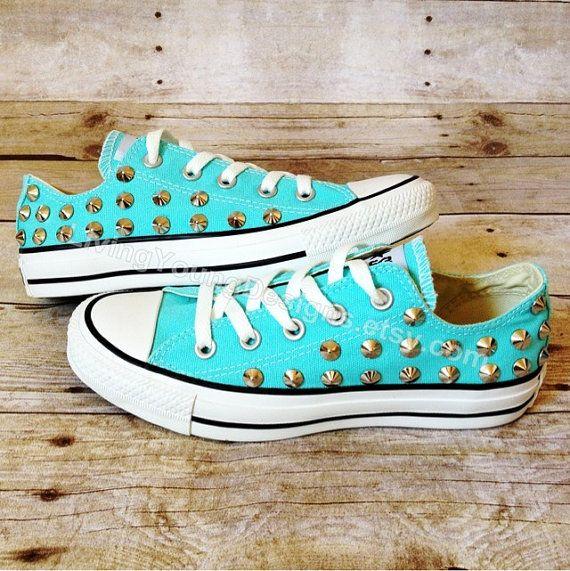 Tiffany Blue Studded Converse