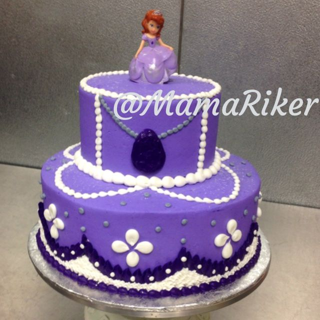 Two tier stacked Sofia the First birthday cake Buttercream iced and