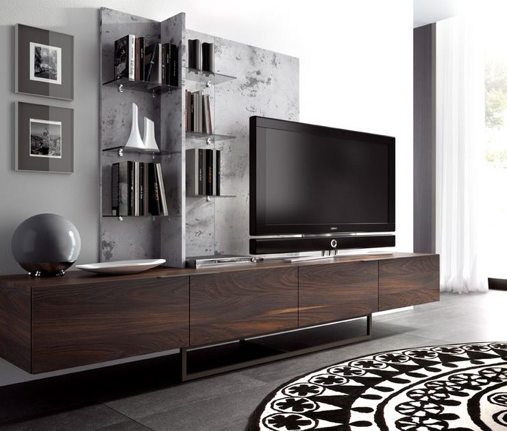Mesa de tv madera moderno cabinet tv wall home decor - Muebles de tv de diseno ...