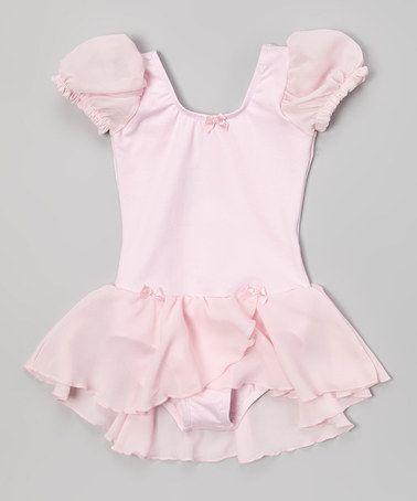 Look at this #zulilyfind! Pink Puff-Sleeve Skirted Leotard - Toddler & Girls by Danshuz #zulilyfinds