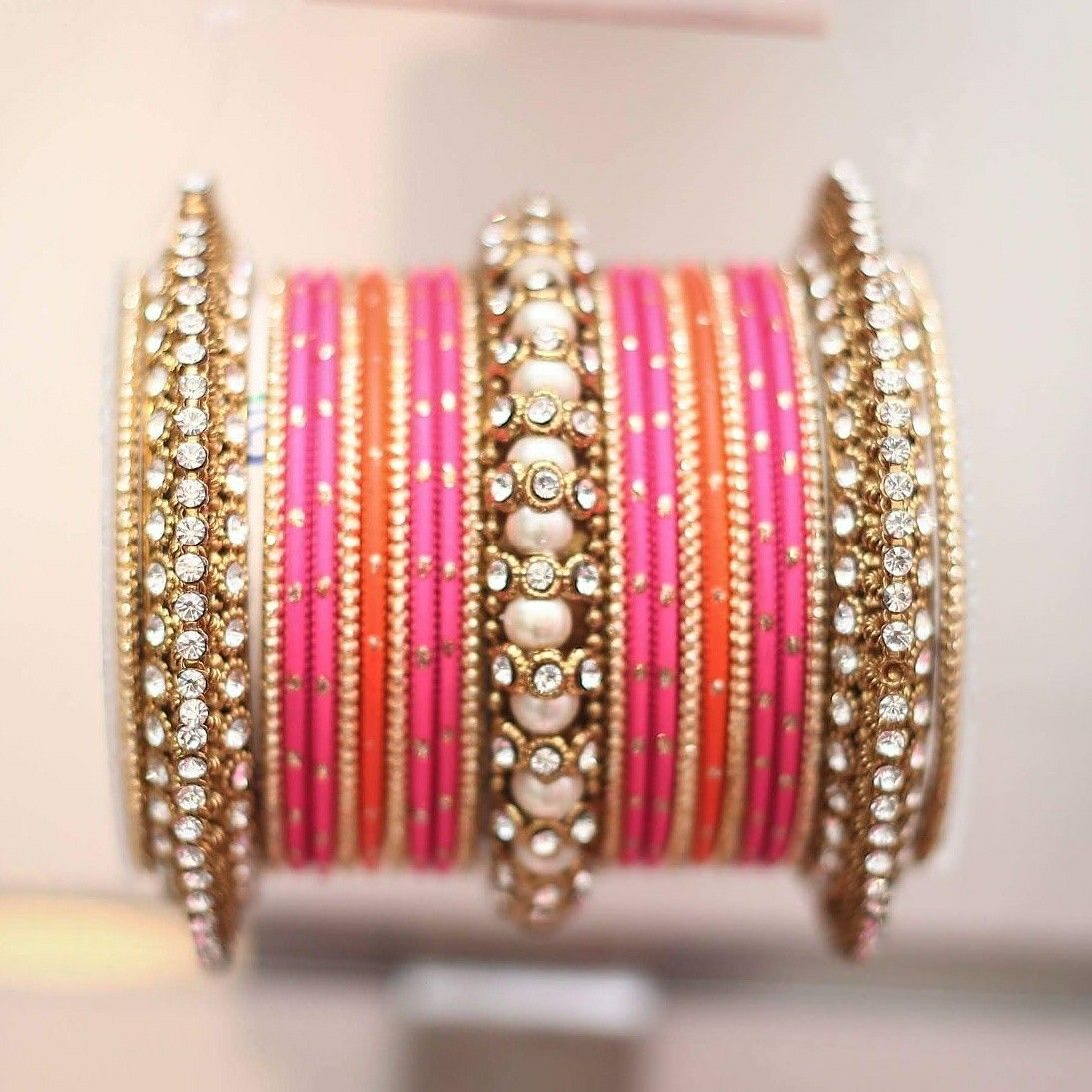 11ad410689f93 Another Beautiful bangle set by Leshya . Traditional Indian colour ...
