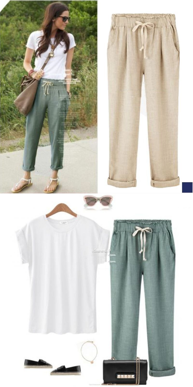 ca56f5097bdb Elastic waist breathable cotton pants in 3 colors yoga capris for ...