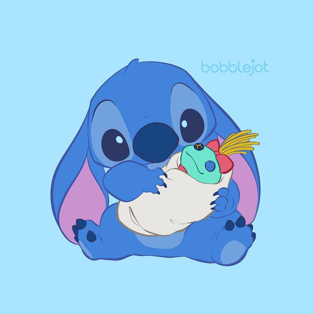 Bobblejot On Instagram Stitch With Scrump Doll Our First Commissioned Piece Did This For A Cute Disney Wallpaper Stitch Drawing Lilo And Stitch Quotes