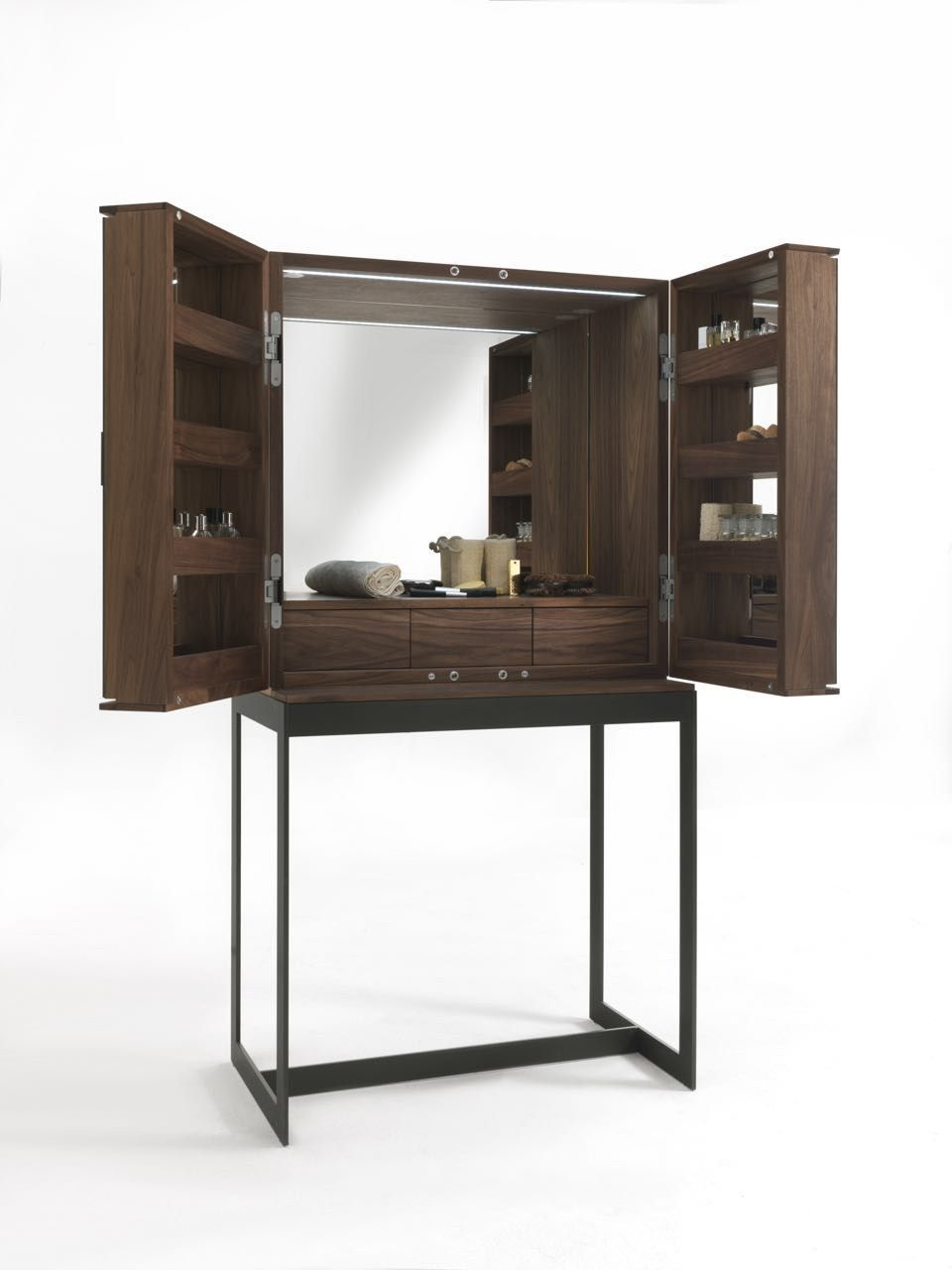 Open Walnut Fly compact dressing table