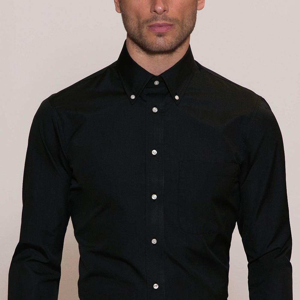 Button Down Collar Baxter Black Shirt Usa Made Shirts Black Shirt Black Shirt Dress Black Button Up Shirt [ 999 x 1000 Pixel ]