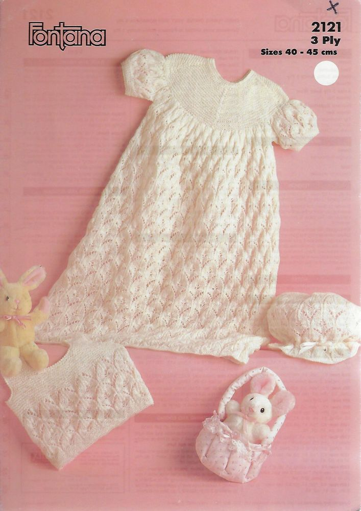 Baby Christening Dress Vest & Bonnet Fontana 2121 knitting pattern 3 ...