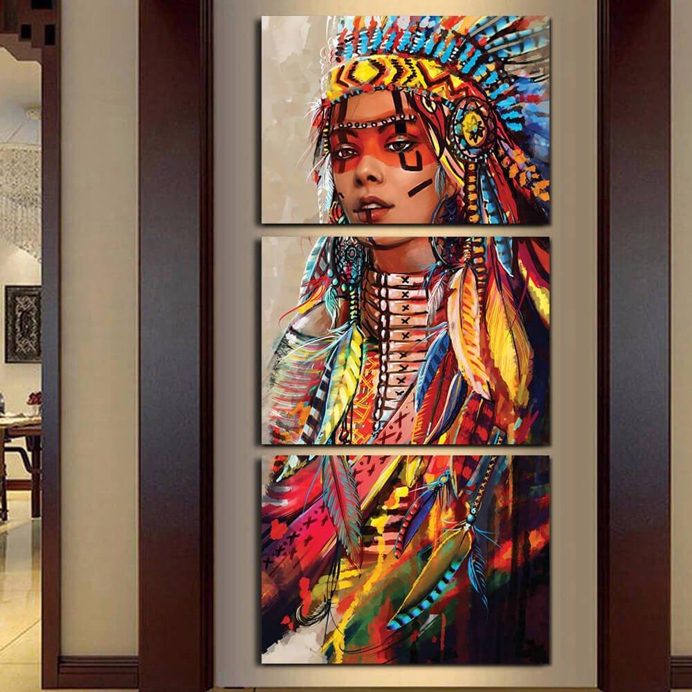 Native American Indian Girl Wall Art Native American Wall Art Canvas Wall Art Feather Painting