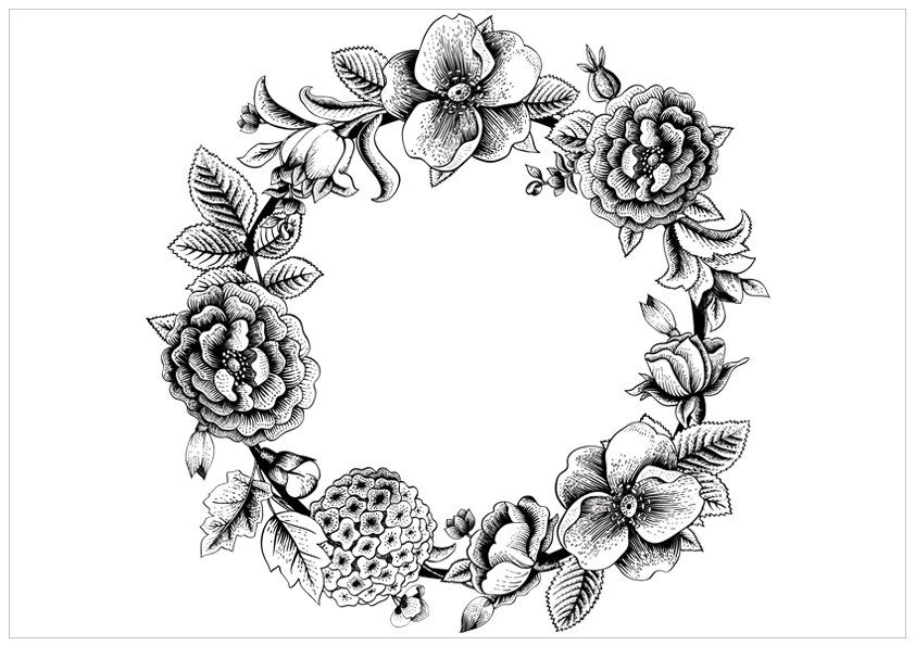 Hydrangea Flowers Wreath Coloring Page Buzzle Com