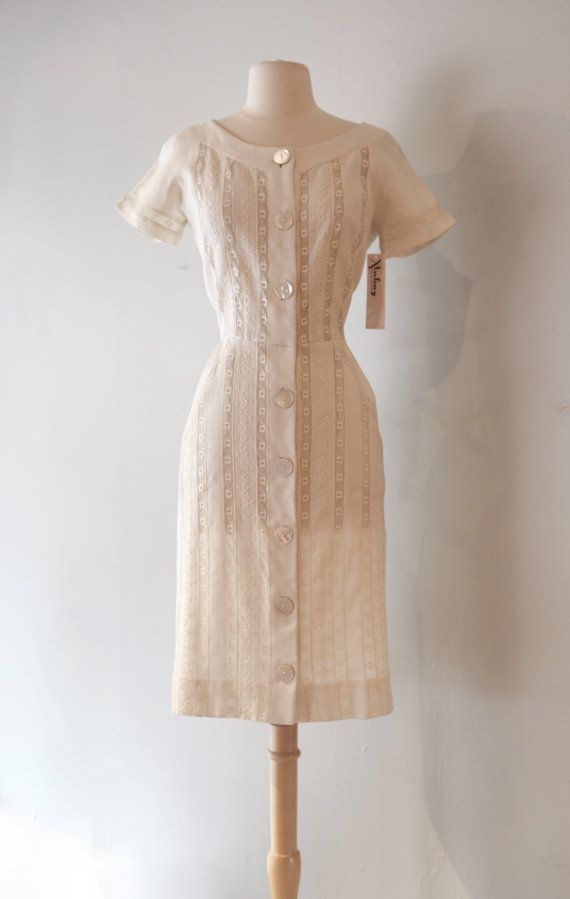 5eba9e7c4 Lino blanco y encaje vintage 1950 menear vestido por xtabayvintage Encaje