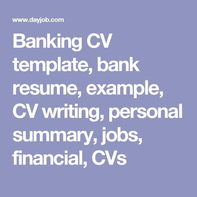 Banking Cv Template Bank Resume Example Cv Writing Personal