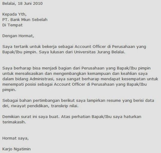contoh cover letters