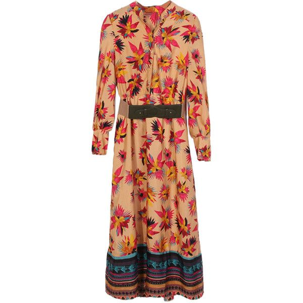 Choies Multicolor Floral V-neck Long Sleeve Maxi Dress ($40) ❤ liked on Polyvore featuring dresses, multi, v neck dress, long sleeve floral dress, long sleeve v neck dress, flower print dress and long sleeve maxi dress
