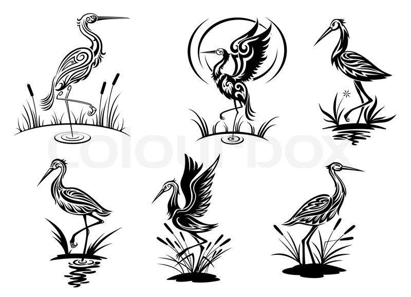 heron silhouette tattoo stork heron crane and egret crane silhouettes pinterest. Black Bedroom Furniture Sets. Home Design Ideas