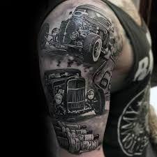Hot Rod Tattoo Sleeve Black White Google Zoeken
