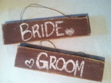 Bride And Groom Wooden Wedding Signs $30