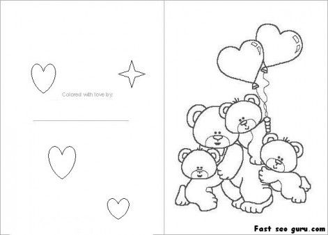Printable Valentines Day Card Colorin In Card Printable Coloring