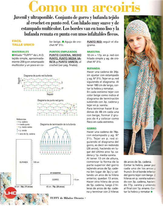 Conjunto Gorro y Bufanda Patron - Patrones Crochet | Gorros para ...