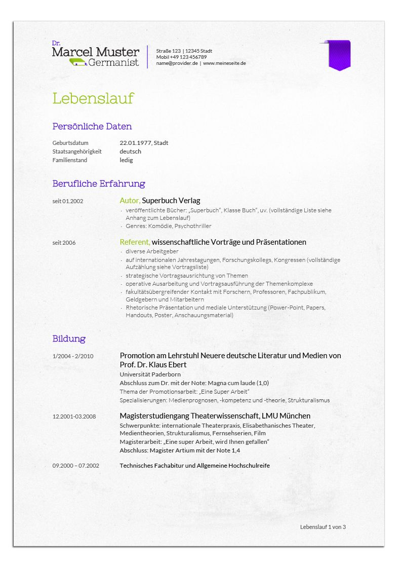 Bewerbungsdesign Germanist Lebenslauf Cv Pinterest Resume