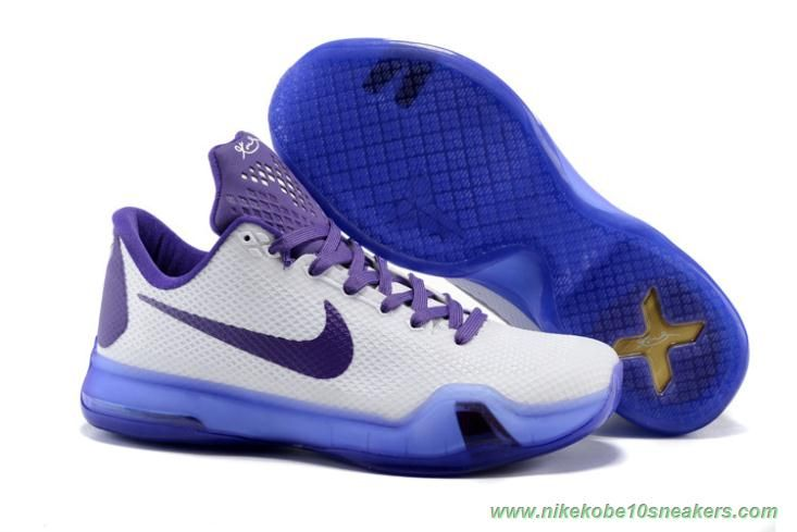 White Purple Nike Kobe X Kobe Bryant Sneakers
