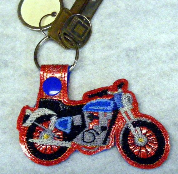 Motorcycle Key Fob Machine Embroidery Pattern by WhimsyDolls