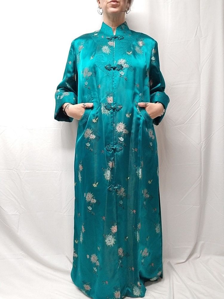 35312fad70 Vtg PEONY Brand Shanghai China Teal Silk Satin Womens Robe Knot Buttons 44  M L  Peony  Robe