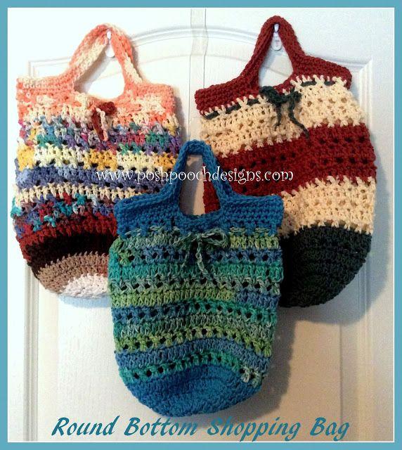 Round Bottom Cotton Shopping Bag Crochet Pattern Cotton Shopping