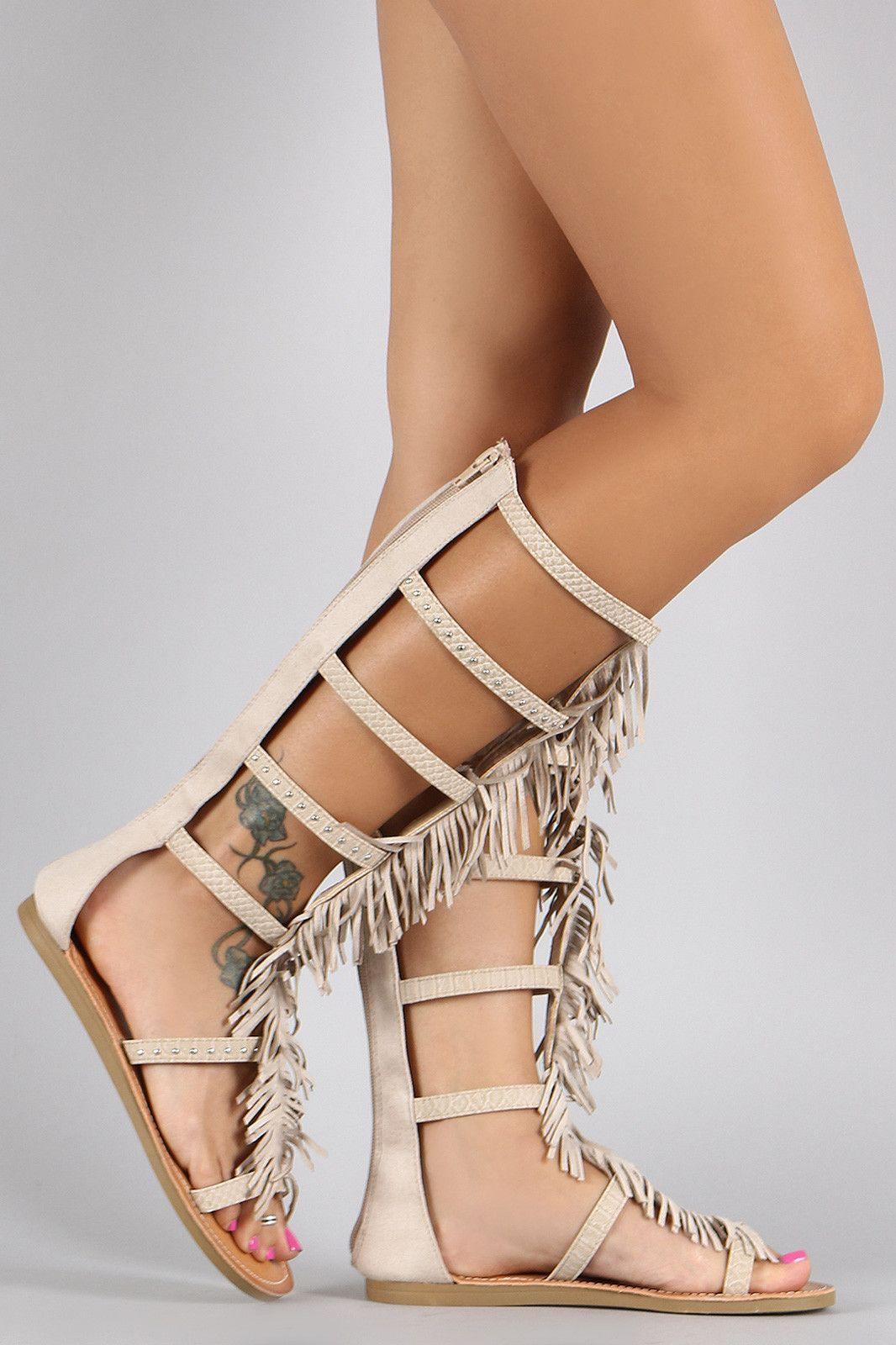 Soda Studded Fringe Studded Gladiator Flat Sandals