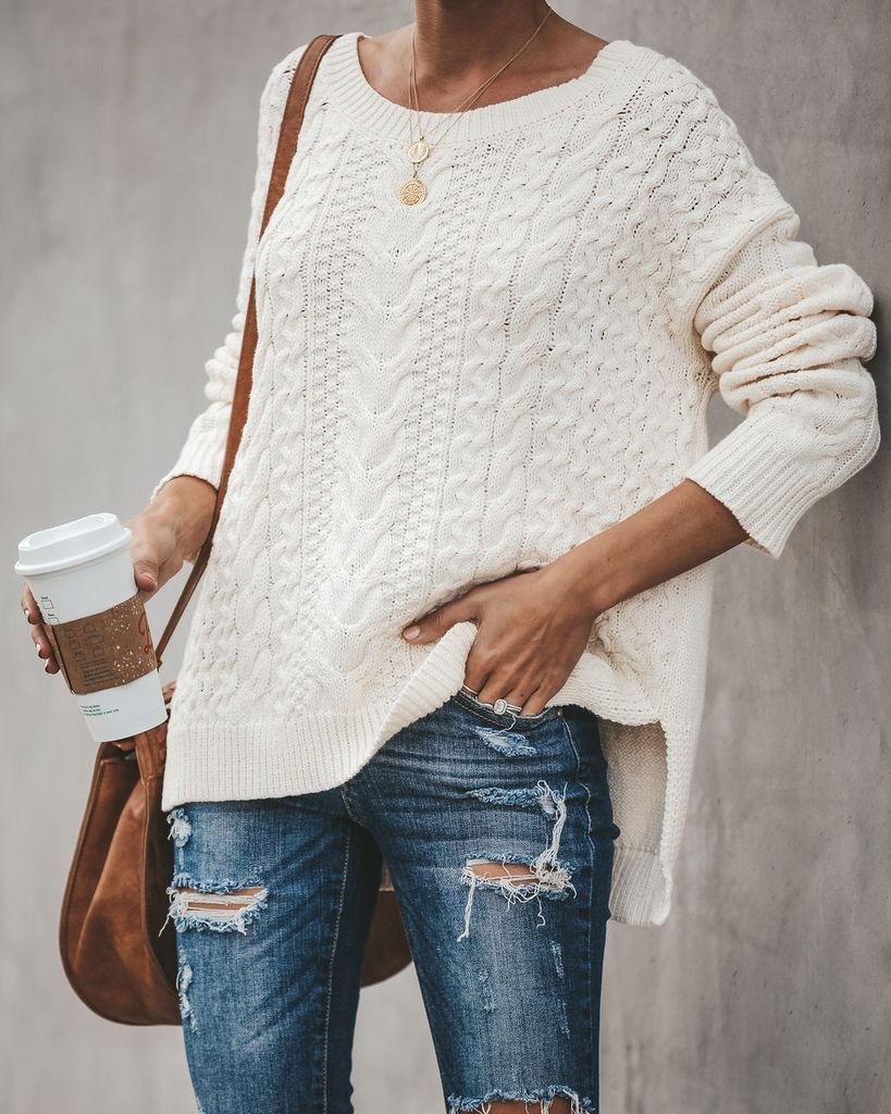 9caf5bacfc9c3c Vanilla Spice Cotton Cable Knit Sweater